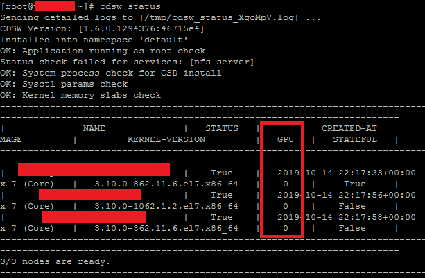Output of cdsw status