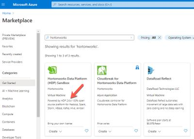 annotated partial page shot of MS Azure marketplace showing available HDP Sandbox captured 2021-02-04.jpeg