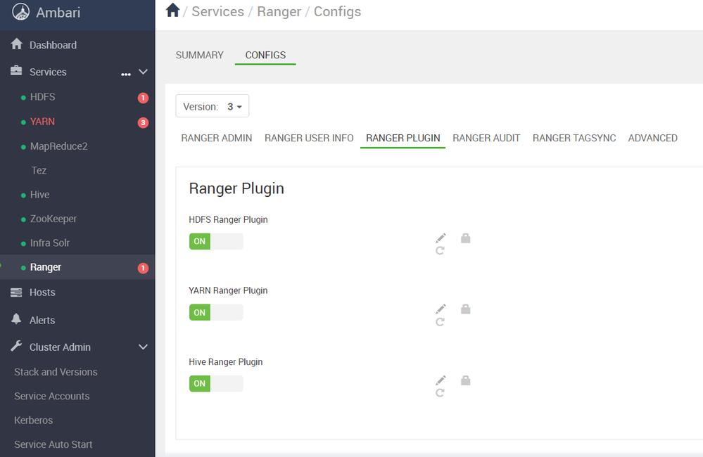 ranger plugin enabled