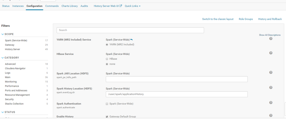 "no dropdown for ""Diff With.."" option Cloudera 5.13.3"