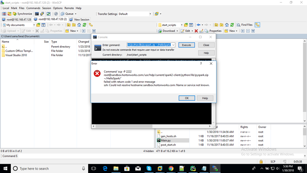 Re: cannot Copy file from Sandbox to windows usin