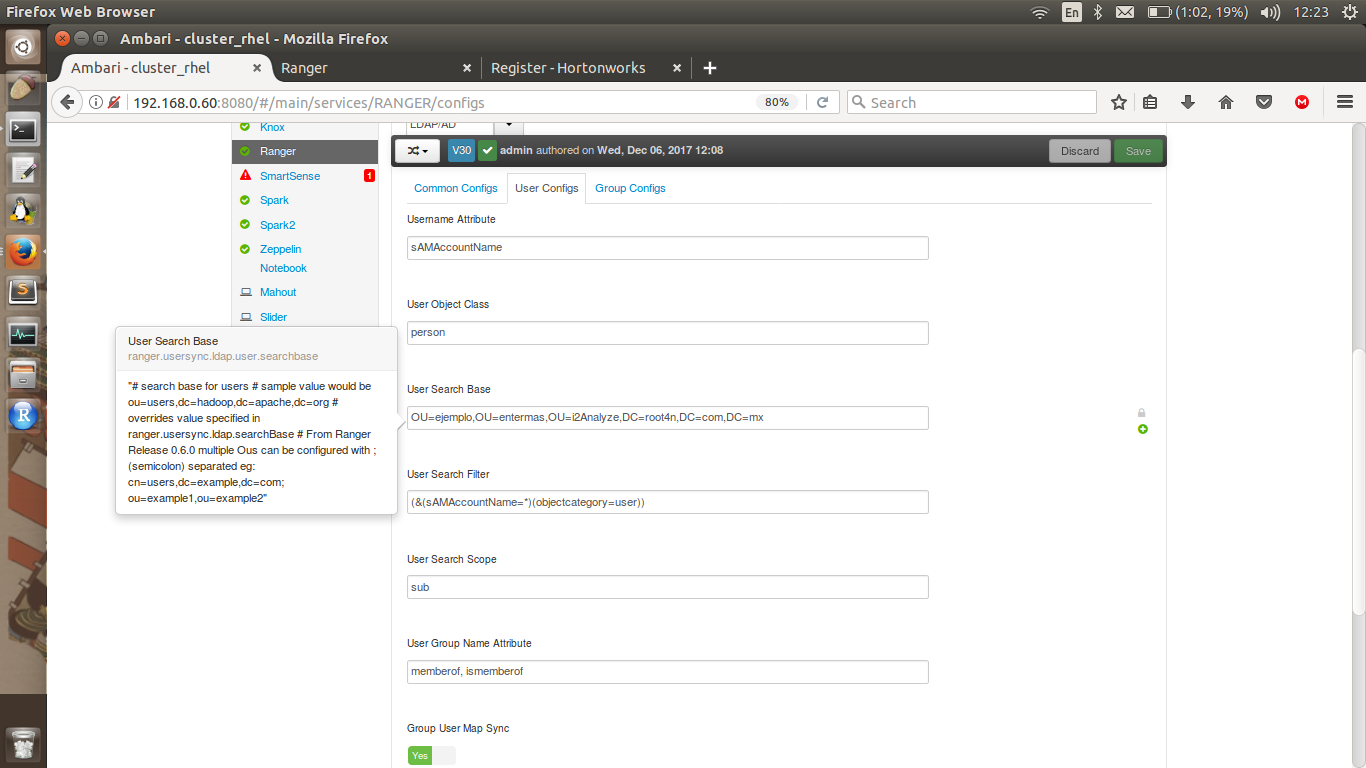 Configuring Ranger Usersync with AD/LDAP for a com