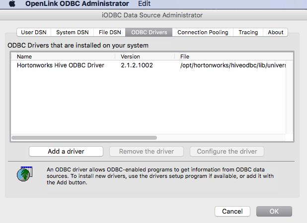 Hive ODBC Driver on OSX 10 11 (El Capitan) - Cloudera Community