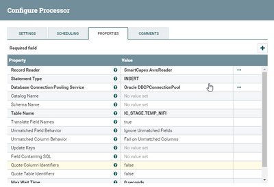 Apache NiFi PutDatabasRecord processor error: None
