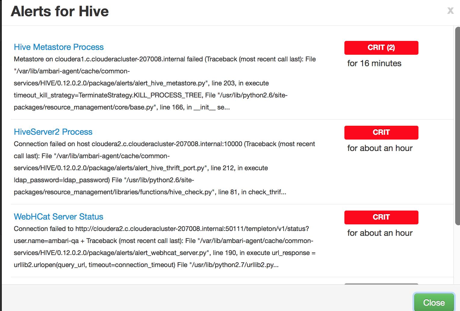 Solved: Hive alerts on ambari UI - Cloudera Community