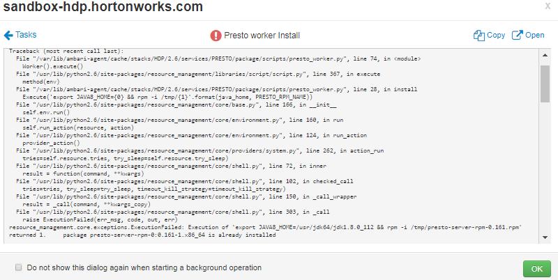 Presto worker Install failed for hdp 2 6 3 error