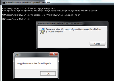 Hadoop installation fails with Python popup window