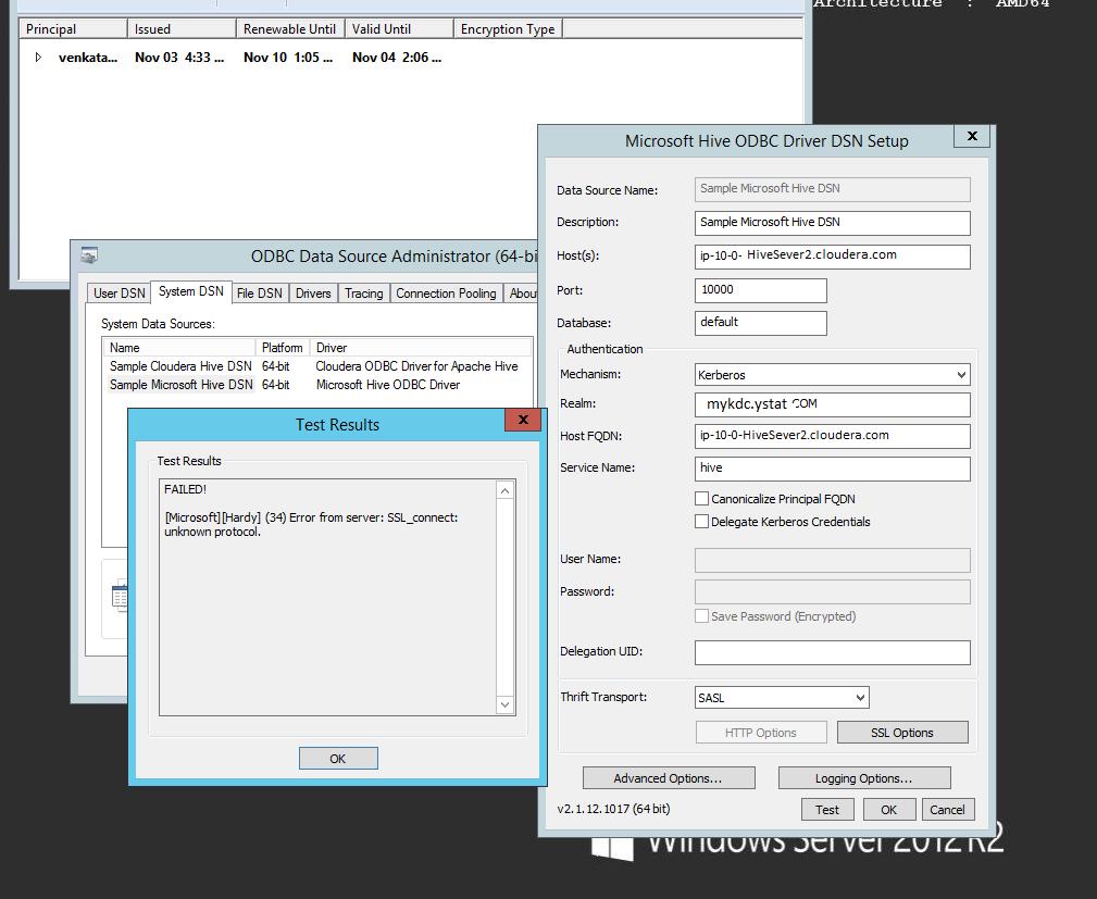 Solved: Hive ODBC kerberos SASL(-1): generic failure _