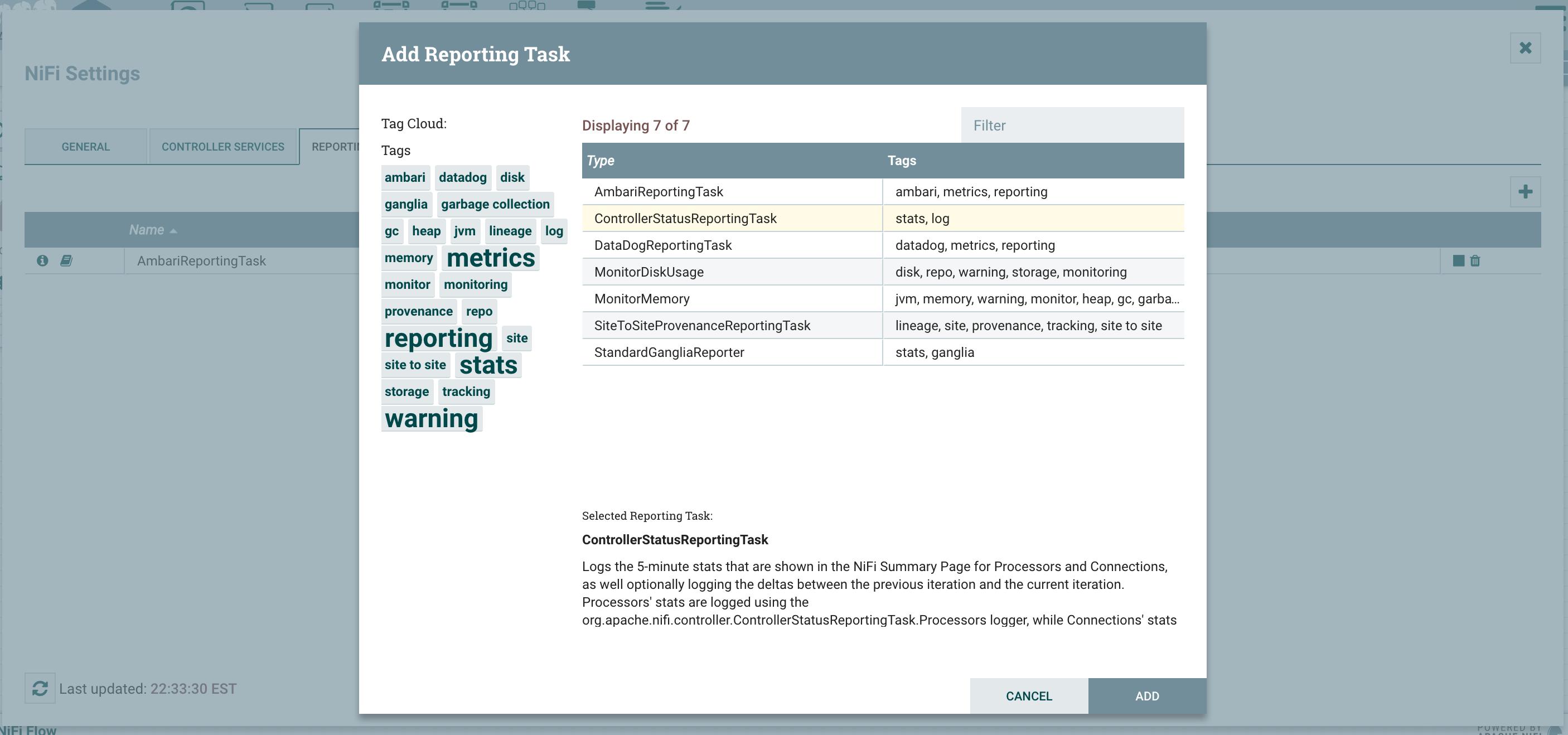 NiFi Monitoring - ControllerStatusReportingTask w
